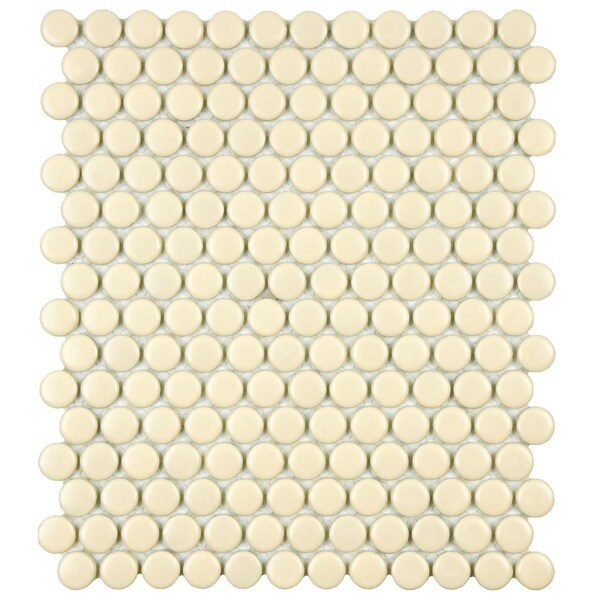 SomerTile 9.875x11.5-inch Victorian Penny Matte Biscuit Porcelain Floor and Wall Mosaic Tile (Case of 10)