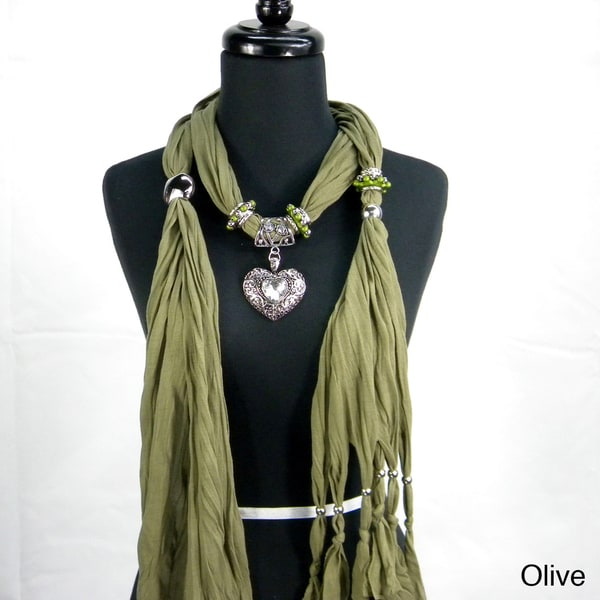Fashion Jewelry Scarf with Textured Heart Pendant