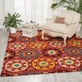 Hand-tufted Suzani Red Medallion Wool Rug (5'3 x 7'5)