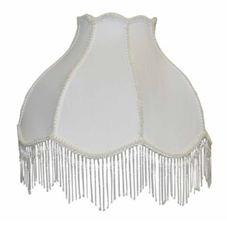 White Victorian Shade with Beaded Tassels