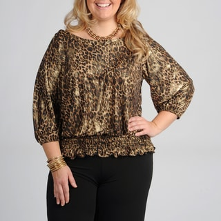 Onyx Nite Women&#39;s Plus Size Leopard Peasant Top