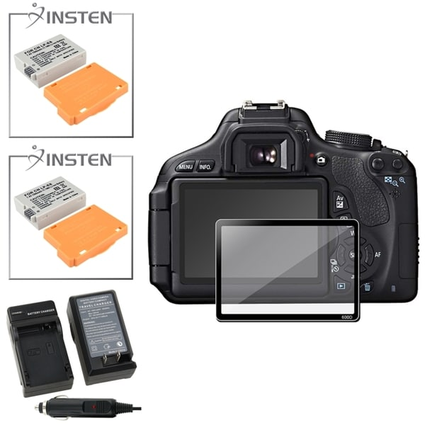 INSTEN Charger/ Battery/ Glass Screen Protector for Canon EOS 600D