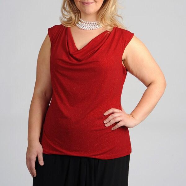 AnnaLee + Hope Women's Plus Size Drape Glitter T