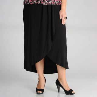 AnnaLee + Hope Women&#39;s Black Faux Wrap Skirt