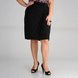 Onyx Nites Women&#39;s Plus Size Black Drape Skirt