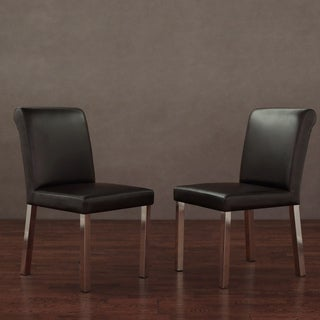 Cosmopolitan Stainless Steel Modern Dark Brown Leather Dining Chairs (Set of 2)