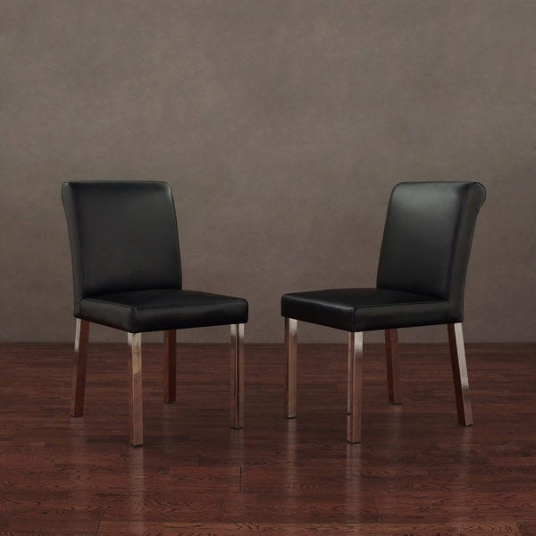 Cosmopolitan Stainless Steel Modern Black Leather Dining Chairs (Set of 2)