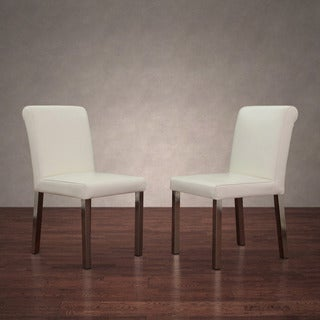 Cosmopolitan Stainless Steel Modern White Leather Dining Chairs (Set of 2)