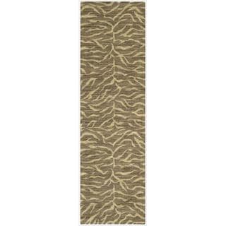 Riviera Chocolate Zebra Print Wool Blend Rug (2'3 x 8')