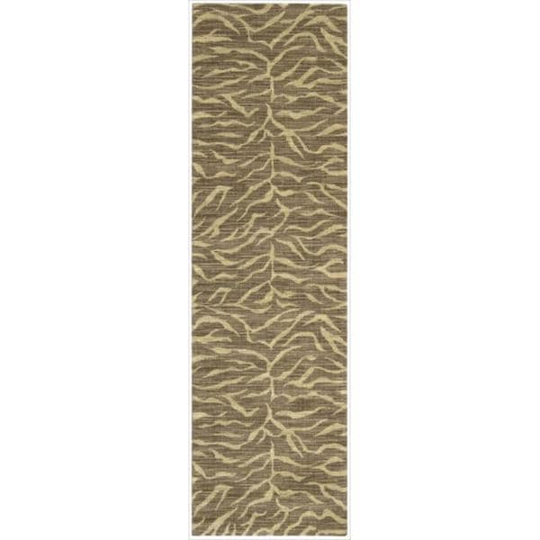 Riviera Chocolate Zebra Print Wool Blend Rug (2'3 x 8')