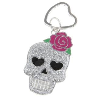 Betsey Johnson Glitter Silver Skull Key Chain