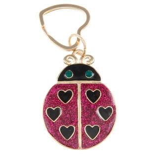Betsey Johnson Fuchsia/ Black Lady Bug Key Chain