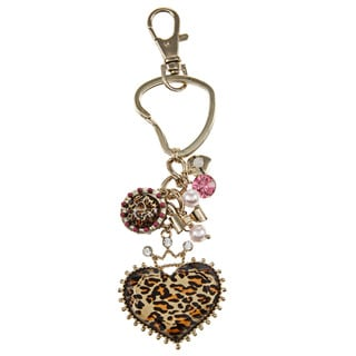 Betsey Johnson Leopard Heart Crown Key Chain