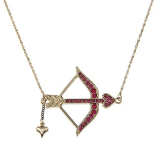 Betsey Johnson CZ Sideways Bow Arrow Pendant Necklace
