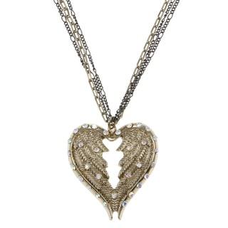 Betsey Johnson CZ Heart Wings Pendant Necklace