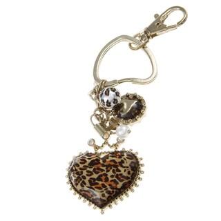 Betsey Johnson Leopard Heart Key Chain