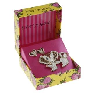 Betsey Johnson Elephant Earrings and Pin Set