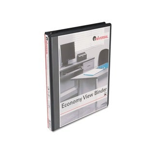 Universal Round-Ring Economy Heavy-Duty Vinyl View Black Binder (Pack of 12)