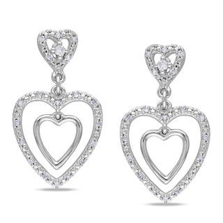 Miadora 10k White Gold 1/6ct TDW Diamond Dangle Earrings (G-H, I1-I2)