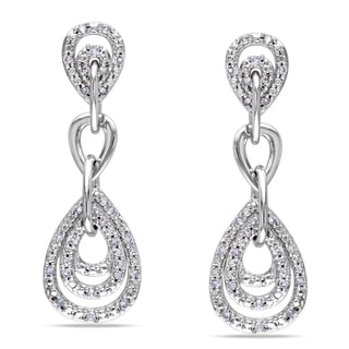 Miadora 10k White Gold 1/4ct TDW Diamond Dangle Earrings (G-H, I1-I2)