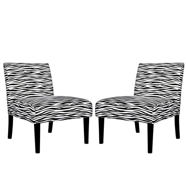 Portfolio Niles Zebra Animal Print Armless Chair (Set of 2)