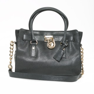 Michael Kors 'Hamilton' Black Leather Structured Satchel Bag