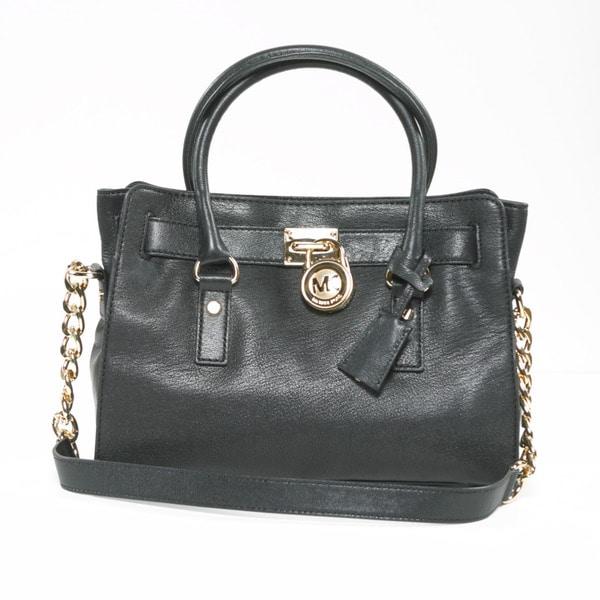 Michael Kors 'Hamilton' Black Leather Structured Satchel Bag