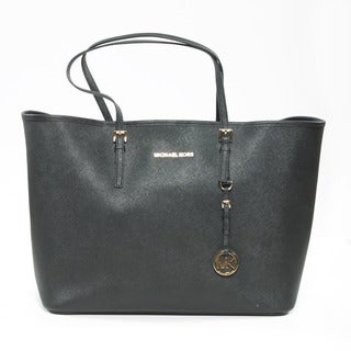 Michael Kors 'Jet Set' Black Saffiano Leather Travel Tote