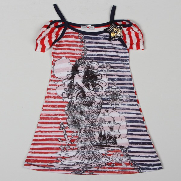 Sweetheart Jane Girl's Mermaid Printed Off-shoulder Dress