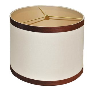Round Beige Hardback Fabric Shade with Brown Piping
