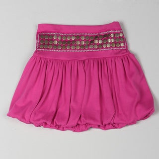 Sweetheart Jane Girl's Pink Studded Band Bubble Skirt
