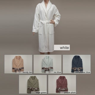 Authentic Hotel Spa Herringbone Weave Turkish Cotton Unisex Bathrobe