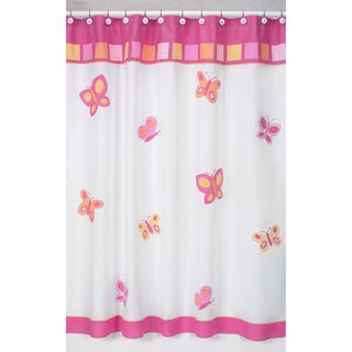 Pink and Orange Butterfly Kids Shower Curtain