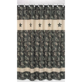 Green Army Camouflage Kids Shower Curtain