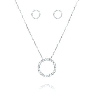 Sterling Silver Cubic Zirconia Open Circle Jewelry Set