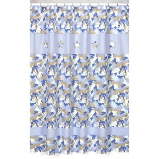 Blue and Khaki Camouflage Kids Shower Curtain