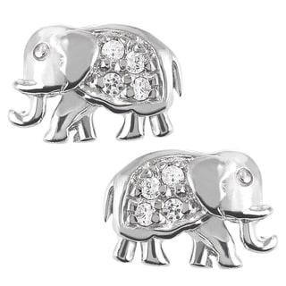 Tressa Sterling Silver Cubic Zirconia Elephant Stud Earrings