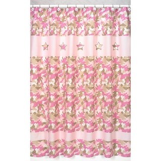 Sweet Jojo Designs Pink and Khaki Camouflage Kids Shower Curtain