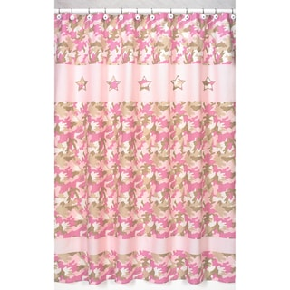 Pink and Khaki Camouflage Kids Shower Curtain