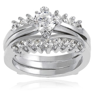 Tressa Sterling Silver Round Cubic Zirconia Bridal-style Ring Set