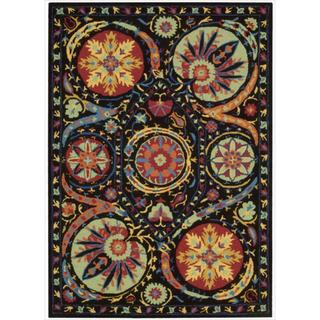 Hand-tufted Suzani Black/ Multicolor Floral Medallion Rug (3'9 x 5'9)