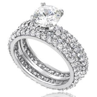 Tressa Sterling Silver White Basket-set Cubic Zirconia Bridal-style Ring Set