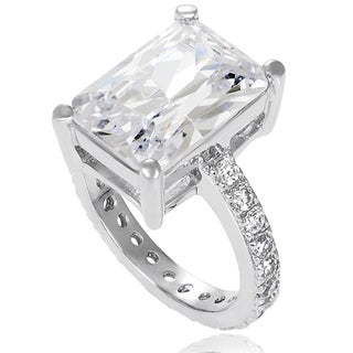 Tressa Sterling Silver Emerald-cut Cubic Zirconia Bridal-style Ring