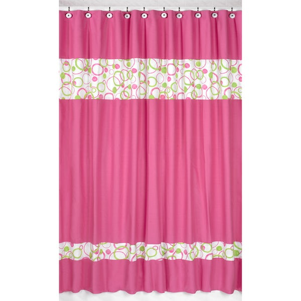 sweet jojo designs circles pink and green shower curtain