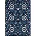 Hand-tufted Suzani Navy Floral Medallion Rug (2'6 x 4')