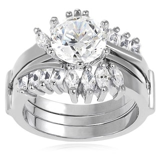 Journee Collection Sterling Silver Marquise-cut Cubic Zirconia Bridal-style Ring Set