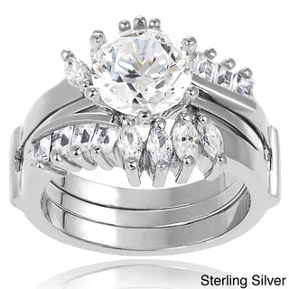 Tressa Sterling Silver Marquise-cut Cubic Zirconia Bridal-style Ring Set