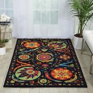 Hand-tufted Suzani Black/ Multicolor Floral Medallion Rug (5'3 x 7'5)