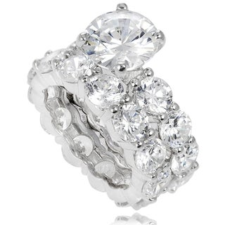 Journee Collection Sterling Silver White Prong-set Cubic Zirconia Bridal-style Ring Set
