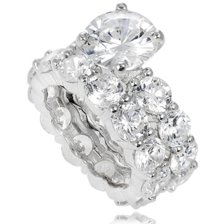 Tressa Sterling Silver White Prong-set Cubic Zirconia Bridal-style Ring Set